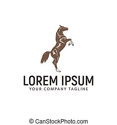 horse vintage logo design concept template