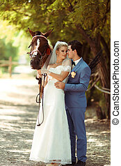 Horse walk in the park in the wedding day