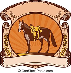 Horse Western Saddle Scroll Woodcut - Illustration of a...