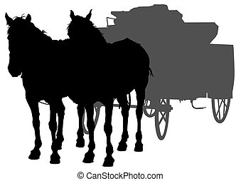 Horse whit wagon