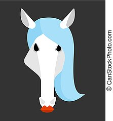 Horse white head isolated. Equine face Vector illustration