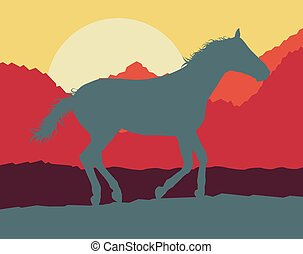 Horse wild mountain landscape with sunset vector