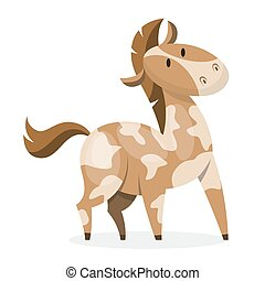 Horse wild or domestic animal. Brown mammal from the farm....