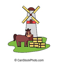 horse windmill and bales of hay