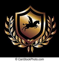 horse wings gold shield vector art