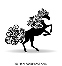 Horse with a mane of curly