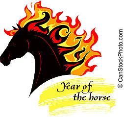 Horse with a mane of fiery