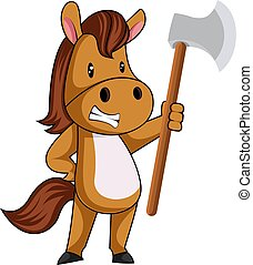 Horse with axe, illustration, vector on white background.