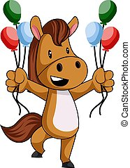 Horse with balloons, illustration, vector on white background.