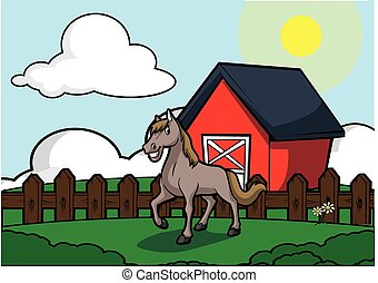 Horse with barn house scenery .eps 10 cartoon illustration