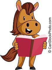 Horse with book, illustration, vector on white background.