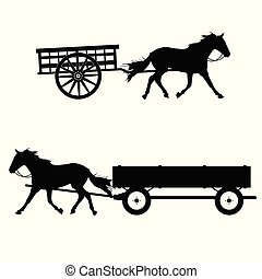 horse with carriage vector silhouette