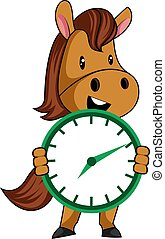 Horse with clock, illustration, vector on white background.