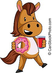 Horse with donut, illustration, vector on white background.