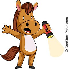 Horse with flashlight, illustration, vector on white background.