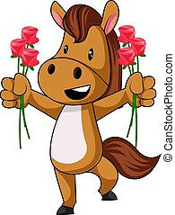 Horse with flowers, illustration, vector on white background.
