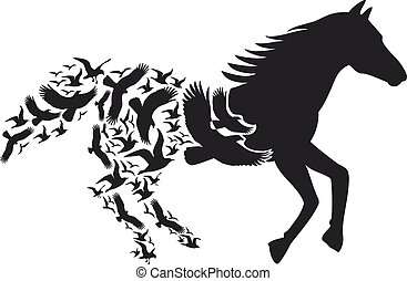 Horse with flying birds, vector