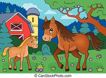 Horse with foal theme image 4 - eps10 vector illustration.