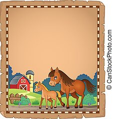 Horse with foal theme parchment 1
