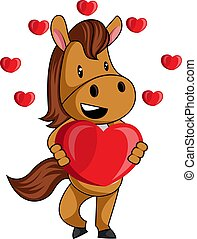 Horse with heart, illustration, vector on white background.