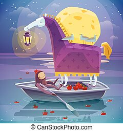 Horse With Lantern Surreal Dream Poster