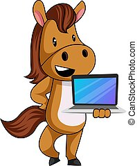 Horse with laptop, illustration, vector on white background.