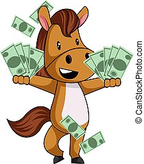 Horse with money, illustration, vector on white background.