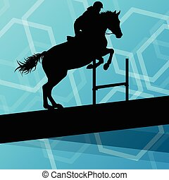 Horse with rider equestrian sport vector background concept