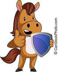 Horse with shield, illustration, vector on white background.