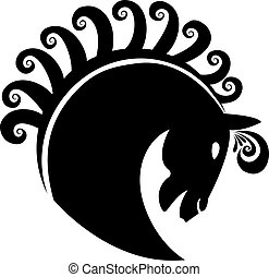 Horse with swirly hair logo