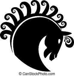Horse with swirly hair logo