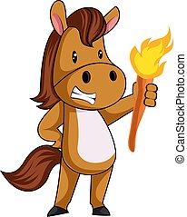 Horse with torch, illustration, vector on white background.