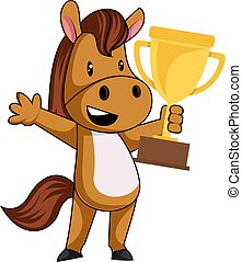 Horse with trophy, illustration, vector on white background.