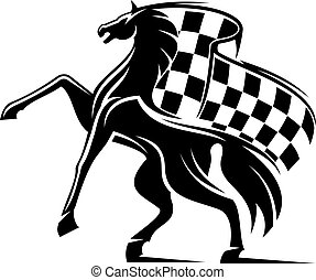 Horse with waving checkered flag. Racing emblem