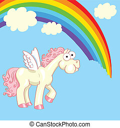 horse with wings eating a rainbow