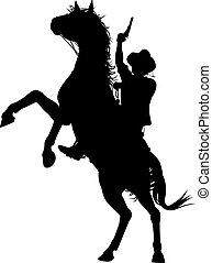 Horseback cowboy - Editable vector silhouette of a cowboy...