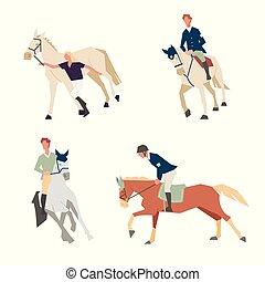 horseback, paarde, sportende, gezin, paardrijden, lessons., ruiter, ride., opleiding