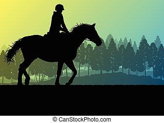 Horseback rider silhouette