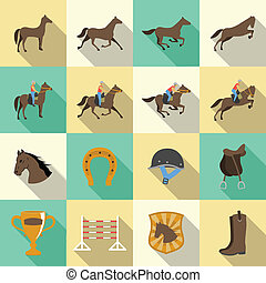 Horseback riding flat shadows icons set of horse rider sport dressage and horseshoe isolated vector illustration