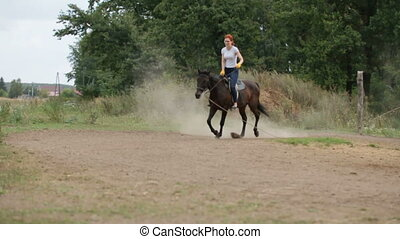 Horseback riding lessons - young woman riding a horse,...