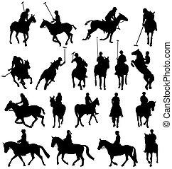 horsebackriding, silhouetten, sammlung