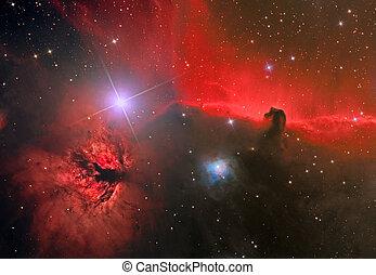 horsehead, och, låga, nebulosa