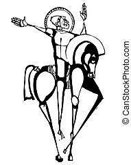 Horseman Alone - Woodcut stylized image of a crusader on a...