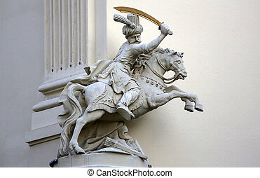 Horseman, Architectural artistic decorations on facade of house in Vienna