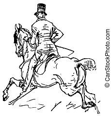 Horseman galloping on horse