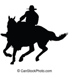 Horseman - Silhouette of a lone rider wearing a rancher's...