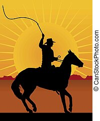 Horseman with Whip - Silhouette of a horsman cracking a whip...