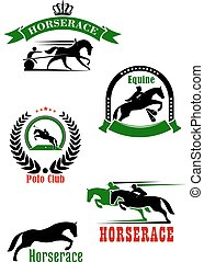 Horseracing, dressage and polo club heraldic icons -...