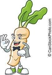 Horseradish cartoon character as a Waiter look. Vector illustration