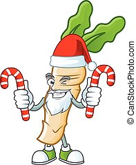 Horseradish Cartoon character in Santa Claus with candy. Vector illustration